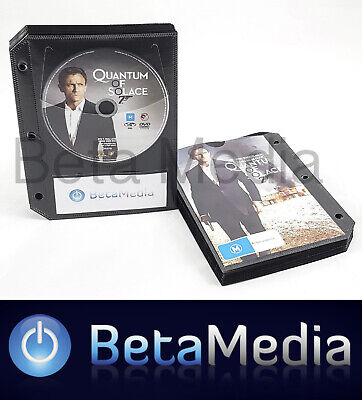 100 x Black DVD Sleeves - holds discs and Movie or Game cover with Binder holes