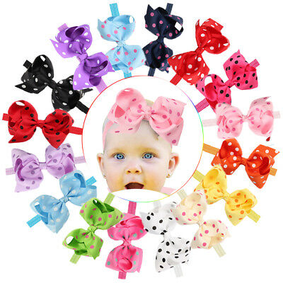 6 Inches Lot Baby Girl Big Bow Headbands Mix Colors Hair Bows for Infant Head 16
