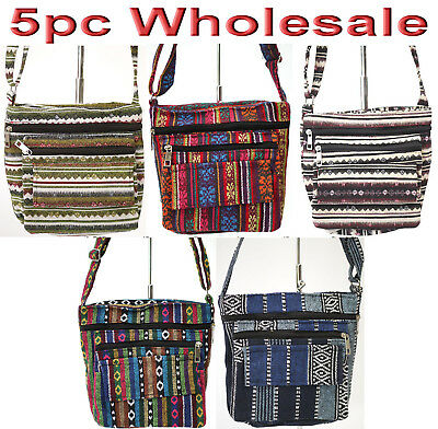 5pc Wholesale Long Canvas Multi-pockets Crossbody Bag Women Girl Handbag Mixed