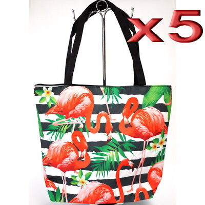 5pc Wholesale Large Flamingos Canvas Casual Shopper Tote Handbag Women Beach Bag
