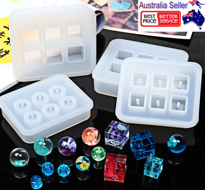 2X Silicone Gem Beads Moulds Mold Resin Jewellery Making Pendant DIY Craft