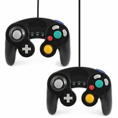 2x BLACK WIRED CLASSIC CONTROLLER JOYPAD GAMEPAD FOR NINTENDO GAMECUBE GC Wii