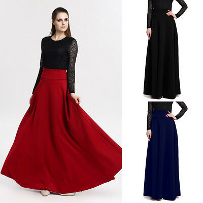 AU Women High Waist Stretch Pleated Party Evening Long Maxi Skirt Plus Size 8-24