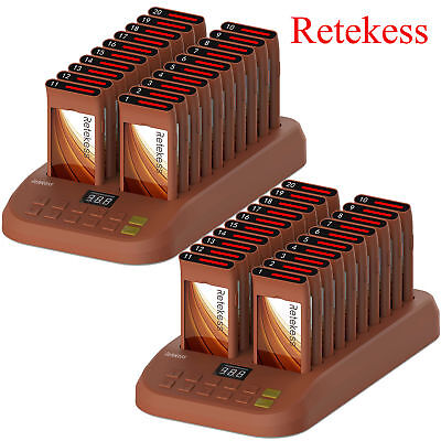 New Restaurant Guest Call Wireless Paging Queuing Calling System+40Coaster Pager