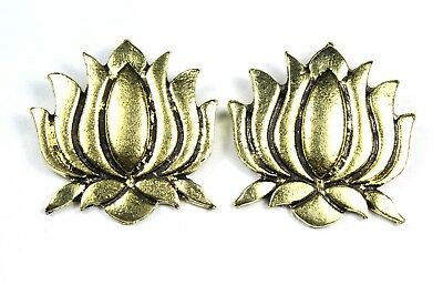Antique Oxidized Goldtone Alloy Beautiful Lotus Art Pendant Match Pair 120.25cts