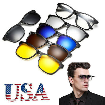 New Clip On Sunglasses Polarized 100% UV Protection Flip Up Muti Lens Shades