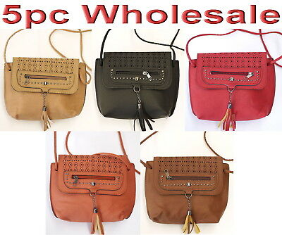5pc Wholesale Women Girl PU Leather Shoulder Crossbody Bag Messenger Handbag Mix