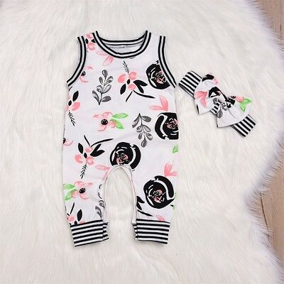CANIS Toddler Baby Kids Girls Floral Romper Tassel Jumpsuit Headband Outfit2PCS