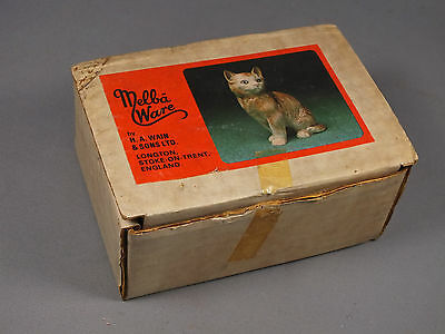 Vintage Melba Ware Black Cat Figurine Ornament - In Original Box