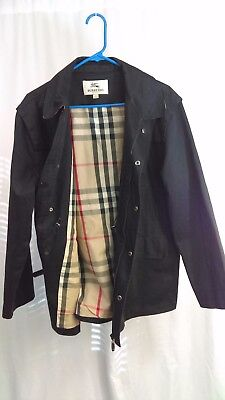 BURBERRY LONDON MENS BLACK TRECH COAT WITH NOVA CHECK LINING Size Large