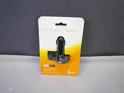 AT&T Apple iPod iPhone 30-Pin Car Charger w/ Built in USB Charging Port NEW