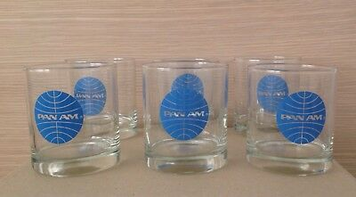 6 Pan Am Airline Advertising Glasses For Inauguration 747 Service To Melb 1975