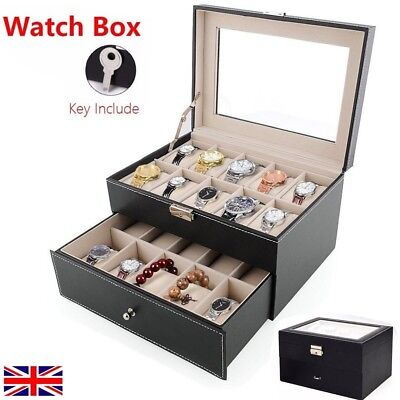 20 Grid Watches Display Holder Case Storage Organiser Box Collection Leather Key