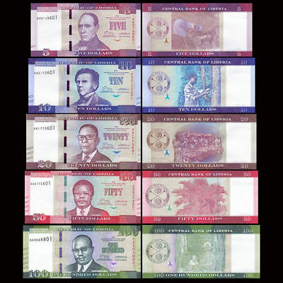 LIBERIA Set 5 PCS 5 10 20 50 100 Dollars 2016     - UNC  - Pick 31a / 35a 2016