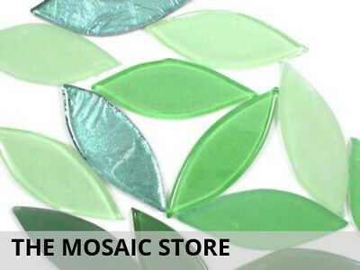 Green Mix Glass Petals - Mosaic Art Craft Supplies Tiles