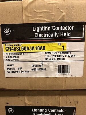 GE CR463L60AJA10A0 30 AMP Lighting Contactor NEW IN BOX!