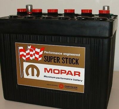 Mopar Vintage Look Super Stock Muscle Car Battery Label + Rts Red Stickers