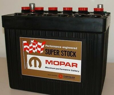 Mopar Vintage Look Super Stock Muscle Car Battery Label + Rts Blue Stickers
