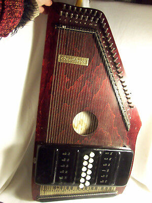 Cithare AUTOHARPE ancienne CHORD HARP usa BOIS 36 cordes 12 accords