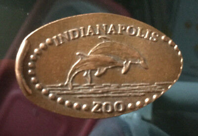 Indianapolis zoo Dolphins Copper Elongated pressed smashed penny A861