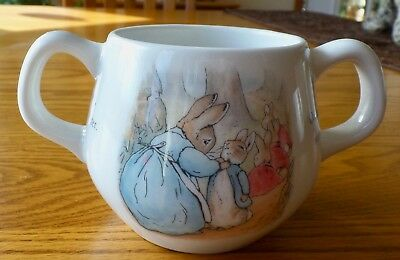 Peter Rabbit 2 Handled Child's Easter Cup Beatrix Potter Wedgwood England 1993