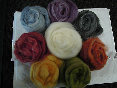 Merino/Alpaca Assortment.dyed & white Top Roving  110g. Spin, Dye, Felt