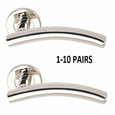 UP TO 10 PAIRS OF CHROME DOOR HANDLES Arched Lever Round Rose  D7