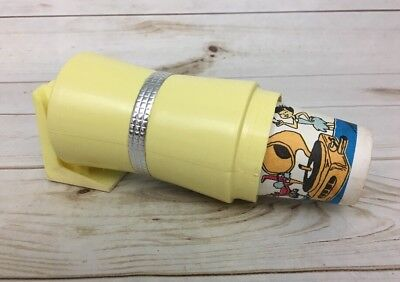 Vintage Retro Wall Mount Dixie Cup Dispenser In Yellow W/ Flinstones Cups!