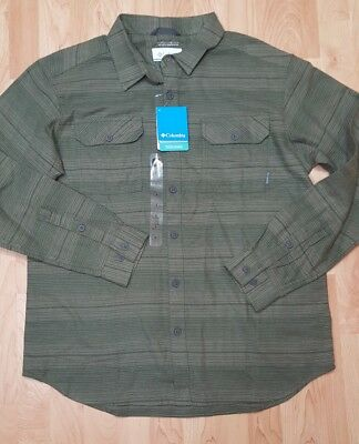 cb2de21973a Men's Large Columbia Omni-Wick Flare Gun Flannel III Green Long Sleeve Shirt  NWT