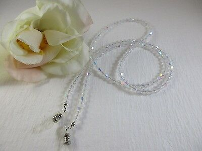 "Extra Long 32"" SHIMMERING CRYSTAL AB Swarovski Shape Beaded Eyeglass Chain"