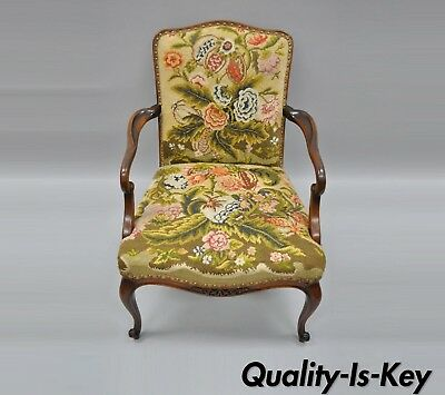 Antique Floral Needlepoint Mahogany Fireside Arm Chair French Queen Anne Legs