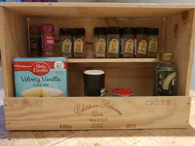 Handmade French Wooden wine box HERB and SPICE RACK / Kitchen Organiser & tidy
