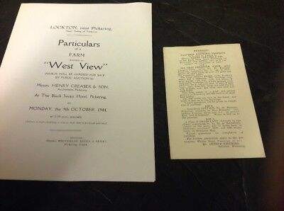 Old Yorkshire Document Pickering And Lockton 1931-44 ,West View & Eastgate Farms