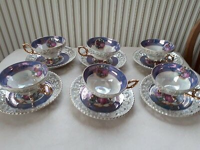 Chinese Yusui China Tea Set. Beautiful Lustre Ware. 12 Piece In Exc Cond.