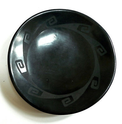 "MARIA MARTINEZ AND SANTANA SIGNED BLACK ON BLACK POTTERY PLATE 5-1/2"" 1950's"