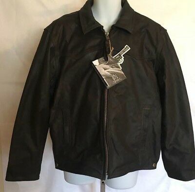 """NEW Mens STS Full Grain Distressed Leather """"The Vegas""""Crazy Horse Brown Jacket"""