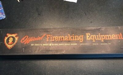 Official Vintage BOY SCOUTS Firemaking Equipment Kit Bow Drill W/original Box