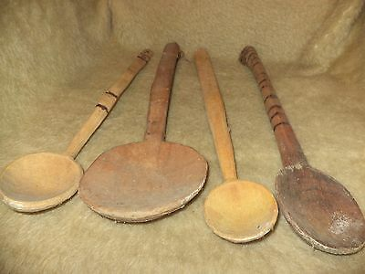 Old Antique Hand Carved Bowl Wood Spoon Lot Of 4
