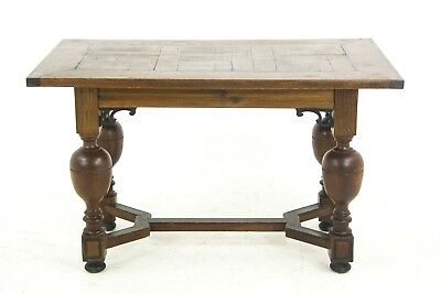 Antique Desk, Writing Table, Hall Table, Oak Parquetry, Germany 1920, B809