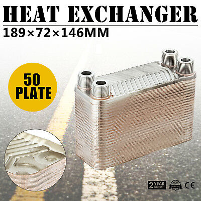 "50 Plate Water to Water Brazed Plate Heat Exchanger Furnace B3-12A-50 3/4""male"