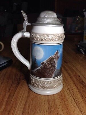 Vintage German Gerz Wolf Howling at Moon Beer Ceramic Stein Pewter Lid