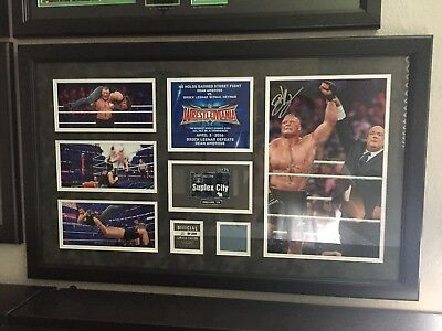 WWE BROCK LESNAR WRESTLEMANIA 32 HAND SIGNED PLAQUE LIMITED TO 42 Autogramm
