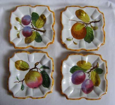 Four Antique Italian Majolica / Faience Plates Painted with Fruit:  Square Shape
