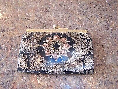 Vtg Italian Florentine Italy Leather Gold & Black  Embossed Coin Kiss Purse