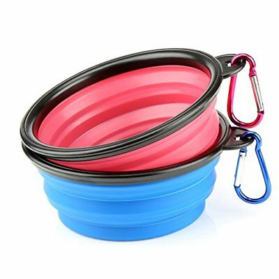 HS 2 Collapsible Travel Dog Water Bowl Portable Cat Pet Silicone Food Bowl Sma