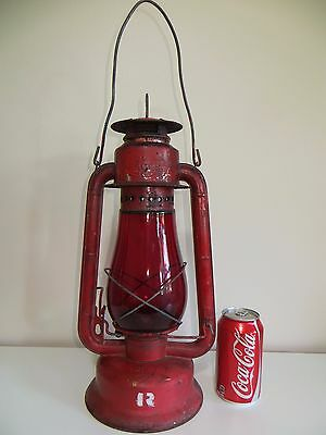 RED ANTIQUE LANTERN HURRICANE LAMP w/RED GLASS CHIMNEY BEACON~ NO CHIPS ON GLASS