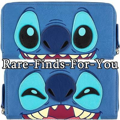 "Disney Parks ""Stitch"" Two-Sided Expressions Zip-Around Wallet by Loungefly (NEW)"