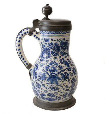 18th Century Pewter mounted German Faience Tankard blue & white painted florals