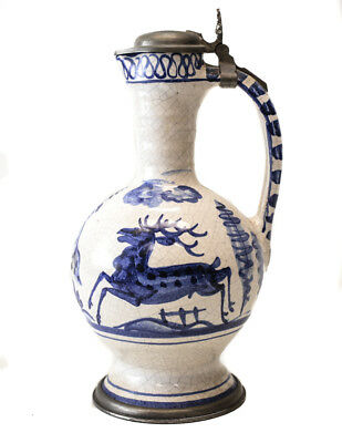 18th Century Pewter-mounted Continental Faience Ewer Jug painted blue and white