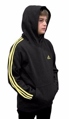 (Youth Large 14/16, Fleece Pullover Hoodie, Black/Yellow) - adidas Youth